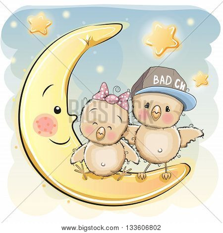 Two Cute Chicks is sitting on the moon