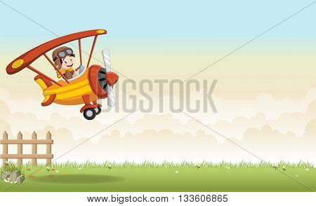 Cartoon pilot boy on a airplane flying over green grass landscape