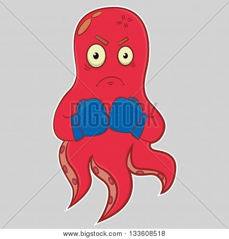 Cartoon character octopus. Funny character. Emotions, angry, furious, mad, aggression. Hand drawn illustration. Vector illustration