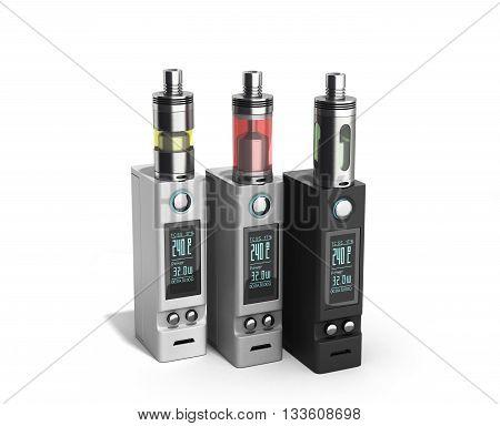 Electronic Cigaretts Device Box Mod To Smokeless Smoking 3D Render On White