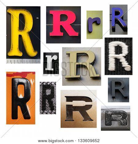 Collection alphabet. Letter R
