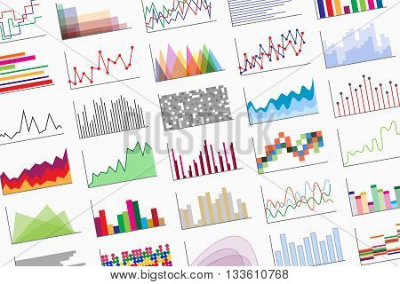 Variety of colorful infographics samples for design of various information and data. Examples of graphs