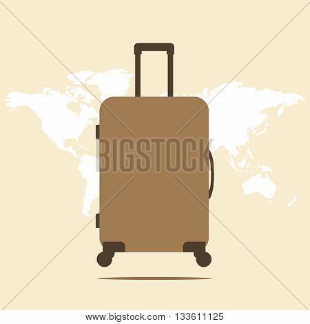 Suitcase. Icon suitcase. Suitcase illustration on a world map background. Vector illustration.