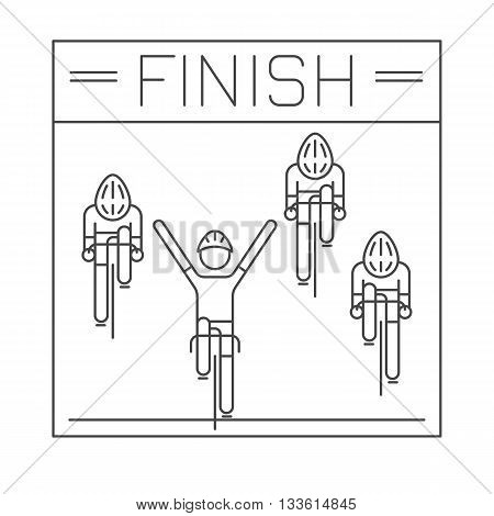 Modern Illustration of cyclists on finish line. Black outline bicyclists isolated on white background. For use as design element or sticker. Bicycle racers made in trendy thin line style vector.