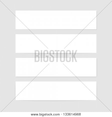 White paper banners with soft shadow isolate on gray background. Web graphic internet banners. Vector illustration