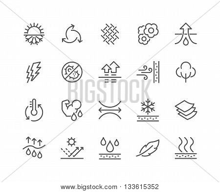 Simple Set of Fabric Feature Related Vector Line Icons. Contains such Icons as Waterproof, Layered Structure, Breathable Fiber, Ultraviolet Protection and more. Editable Stroke. 48x48 Pixel Perfect.