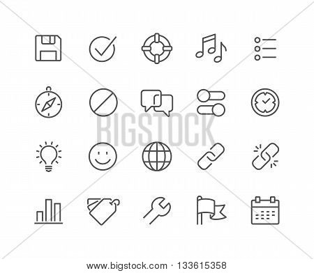 Simple Set of Interface Related Vector Line Icons. Contains such Icons as Settings, Help, Media, Links, Tags and more. Editable Stroke. 48x48 Pixel Perfect.