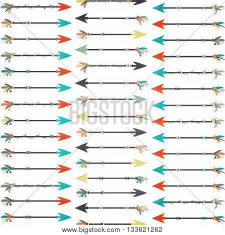 Illustration of nature inspired decorative arrows in various colors.