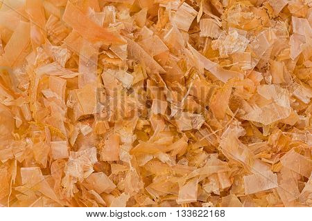 Background texture of dried shredded bonito flakes.