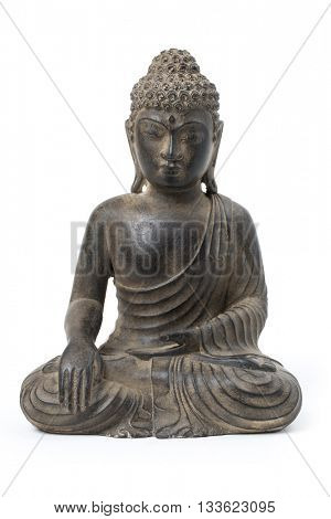 buddha statue against a white background