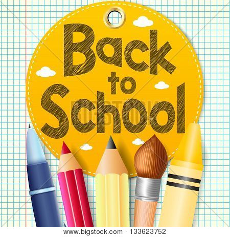 Back to School In A Circle Tag with School Supplies on a Paper Patterned Background