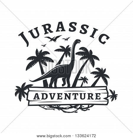 Vector dinosaur logo concept. Sauropod adventure park insignia design. Jurassic period illustration. Dino Vintage T-shirt badge on white background.