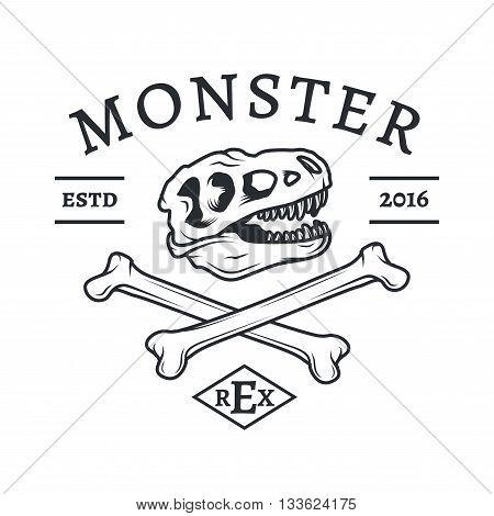 T-rex logo vector. Jurassic dinosaur logotype. Tyrannosaurus dino Vector concept. T-shirt concept. Crossbones crest illustration