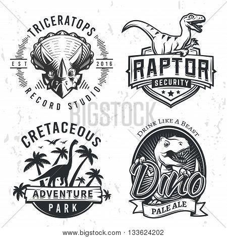 T rex4Set of Dino Logos. Raptor t-shirt illustration concept on grunge background. T-rex beer label design. Vintage Jurassic Period badge.
