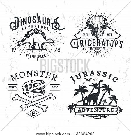 Set of Dino Logos. T-rex skull t-shirt illustration concept on grunge background. stegosaurus adventure park insignia design. Vintage Jurassic Period badge collection