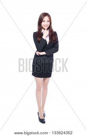 business woman stands in full length thinking something asia beauty