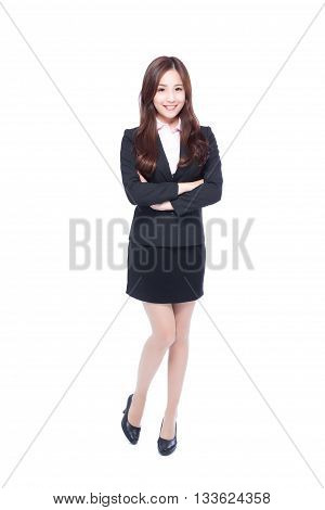business woman stands in full length crossing her arms asia beauty