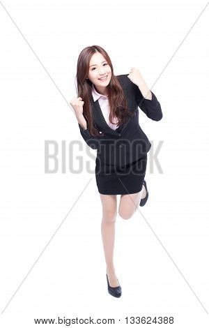 business woman stands in full length makes a fist asia beauty