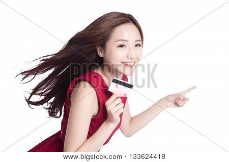 woman shows her credit card pointing somethingasia beauty