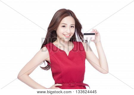 woman shows her credit card asia beauty