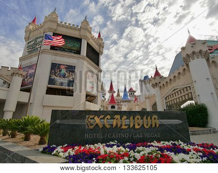 Las Vegas, Excalibur casino and hotel. Nevada USA - May, 8th 2016. Famous Vegas Strip in Las Vegas as seen early in the morning. Strip is home to the biggest hotels and casinos in the world.