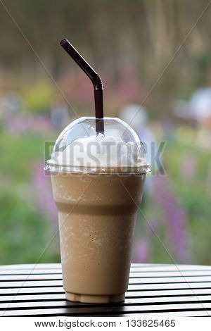 Ice Cappuccino frappe on the table, close up