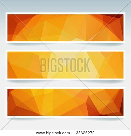 Vector Banners Set With Polygonal Abstract Triangles. Abstract Polygonal Low Poly Banners. Yellow, O