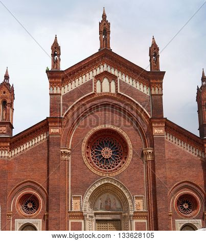 Milan Italy - Santa Maria delle Grazie church. The upper part of the main facade.