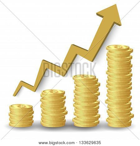 Stacks of golden coins and graph on white background