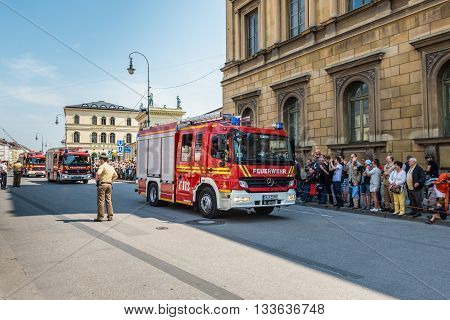 Munich Germany - May 29 2016: Munich saw the biggest fire truck parade the world has ever seen (still to be confirmed by the Guinness Book of World Records) and tens of thousands came out to see the parade. The huge Firetage Parade was organised to celebr