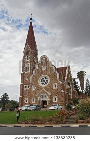 WINDHOEK, NAMIBIA-DECEMBER 11, 2015: Lutheran christuskirche in the Namibian capital Windhoek