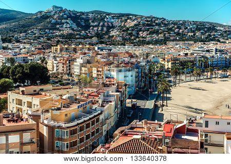 Peniscola city view from the Castillo del Papa Luna. Costa del Azahar province of Castellon Valencian Community. Spain