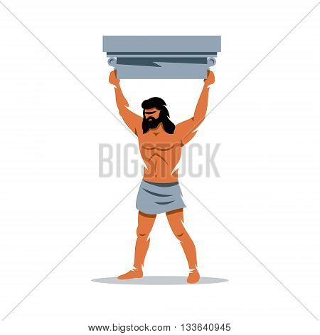 Strong man raised his head above the architectural detail. Isolated on a White Background