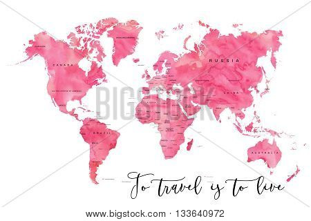 World map filled with pink watercolour effect and country names and a quote: