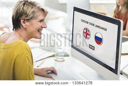 Russian English Communication Language Concept
