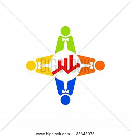 Logo business people teamwork growth finance icon