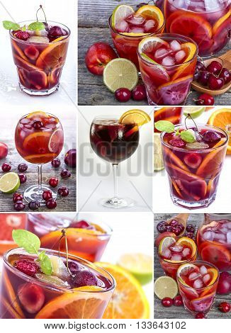 collage of variously prepared and served sangria drinks