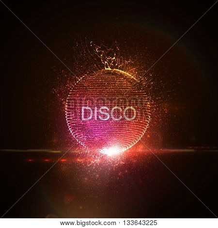 Disco neon sign. 3D illuminated distorted sphere of glowing particles, wireframe, splashes and lens flare light effect. Music party. Vector illustration. Disco ball.