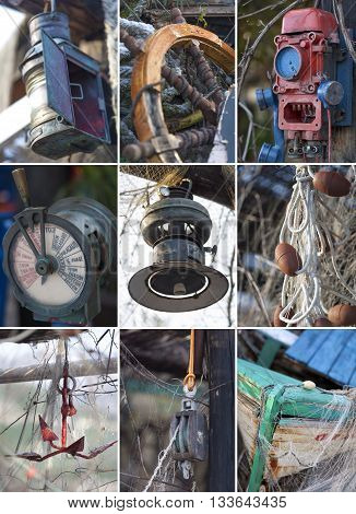 collage of various equipment from rustic old fishing boat