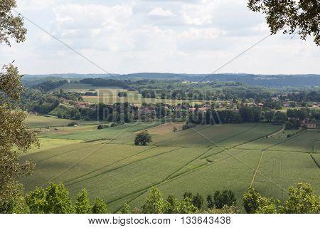 Lush, green farmland in France's Perigord region