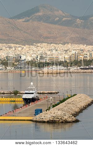Port of Kastella at Piraeus with a boat in it.