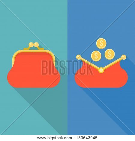 Purse icon, open and close purse with coins vector illustration, flat design