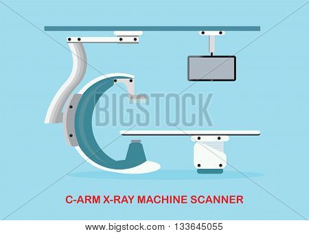 Operating room with Xray medical scan Angiography Machine or C Arm X-Ray Machine Scanner vector illustration.