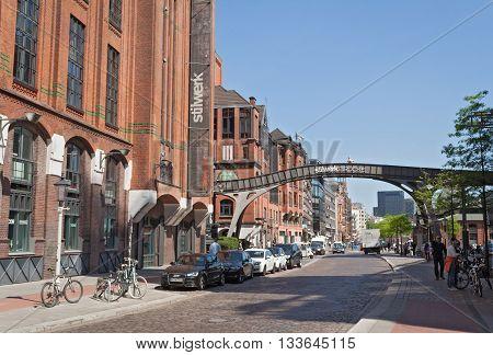 HAMBURG, GERMANY-MAY 13, 2016: Stilwerk bridge in Elbstrasse near the Fischmarkt in Hamburg