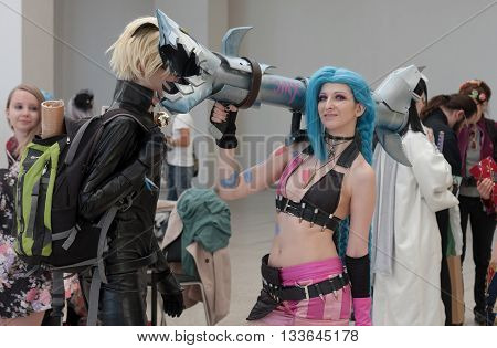 Cosplayer Dressed As Character Jinx From League Of Legends