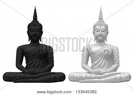 black and white buddha on white background