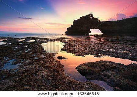 Twilight on the shores of Batu Bolong, Bali