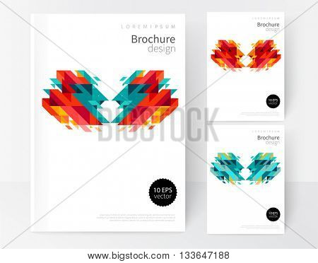 Minimalistic White cover Brochure design. Flyer, booklet, annual report cover template. modern Geometric Abstract background. Color diagonal stripes & triangles. vector-stock illustration