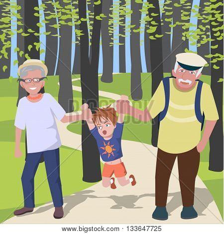 grandchild with grantparents walking at park - colorful cartoon vector illustration