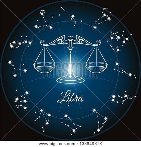 Zodiac sign libra and circle constellations. Vector illustration